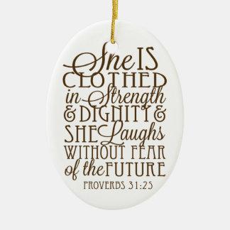 Sprichwörter 31 - Gekleidet in der Stärke u. in Keramik Ornament