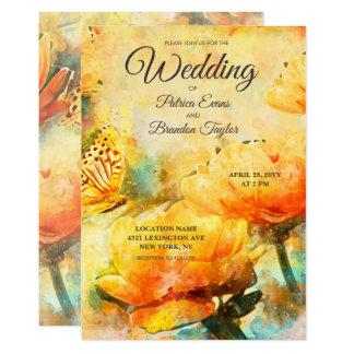Spring Floral Watercolor Garden Wedding Invitation Karte