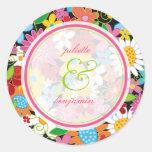 Spring Flowers Garden Whimsical Wedding Favors Round Sticker