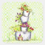 Spring Green Check Flower Garden Bucket Sticker