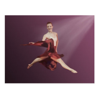 Springen der Ballerina im Rot und im Lavendel Postkarte