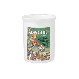 Springen des Cowgirls Getränke Pitcher