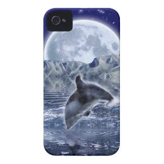 Springen des Delphin-u. Mond-Meeresflora und iPhone 4 Case-Mate Hülle