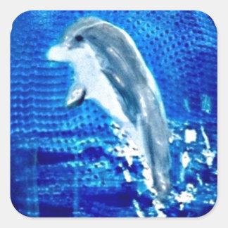 Springen von Delphin-Kunst Quadratischer Aufkleber