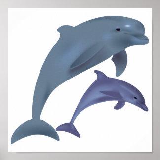 Springende Delphinillustration Poster
