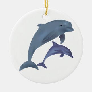 Springende Delphinillustration Rundes Keramik Ornament