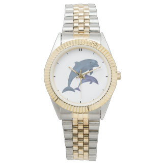 Springende Delphinillustration Uhr
