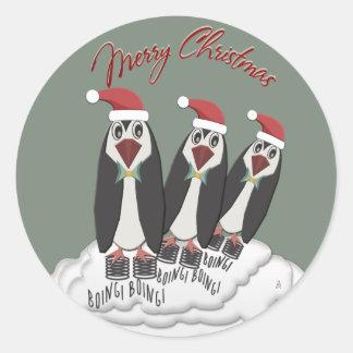 Springende Jiminy WeihnachtenPogo Pinguine Runder Aufkleber