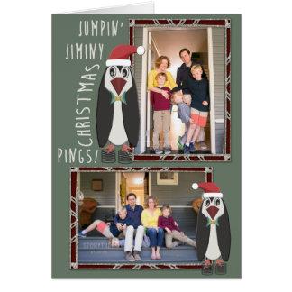 Springende Jiminy WeihnachtsFotos - personalisiert Karte