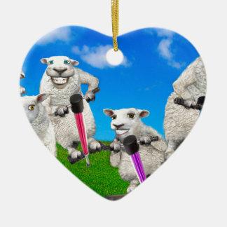 Springende Schafe Keramik Herz-Ornament