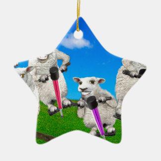 Springende Schafe Keramik Stern-Ornament