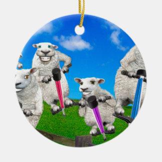 Springende Schafe Rundes Keramik Ornament