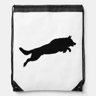 Springende Schäferhund-Silhouette-Liebe-Hunde Turnbeutel
