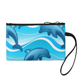 Springende Wellen des Delphins Münzbeutel
