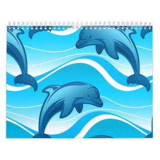 Springende Wellen des Delphins Wandkalender