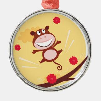 Springender Affe Silbernes Ornament