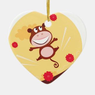 Springender glücklicher Affe Keramik Herz-Ornament