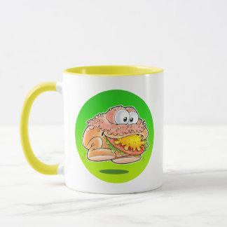 Springender Hamburger mit Hintergrund Tasse