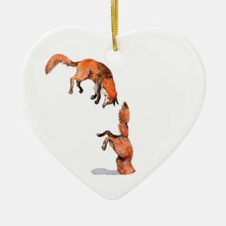 Springender roter Fox Keramik Ornament