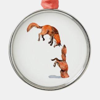 Springender roter Fox Silbernes Ornament