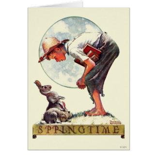 Springtime, Junge 1935 mit Häschen Karte