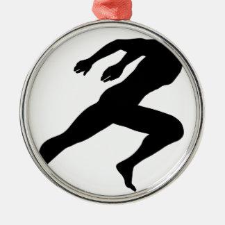 Sprinting Mann-Silhouette Silbernes Ornament
