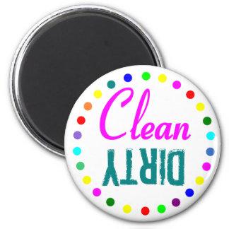 Spritzen der Farbsauberen und schmutzigen Spülmasc Runder Magnet 5,1 Cm