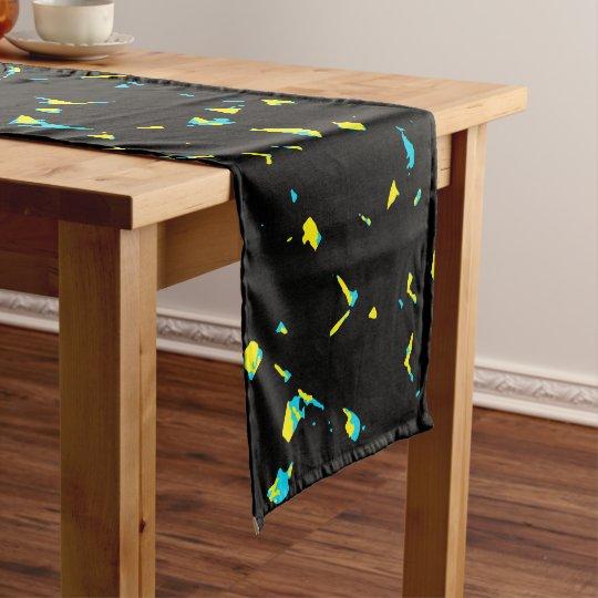 Spritzer-abstraktes dunkles Muster Kurzer Tischläufer