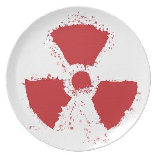 Spritzer-radioaktives Warnsymbol Melaminteller