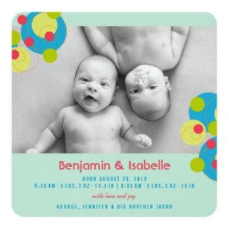 Sprudelndes Kreis-Baby paart Quadratische 13,3 Cm Einladungskarte