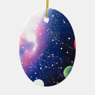 Sprühfarbe-Kunst-Raum-Galaxie-Malerei Ovales Keramik Ornament