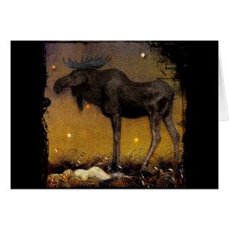 Sprungs-Elch-Prinzessin Cotton Asleep Grußkarte