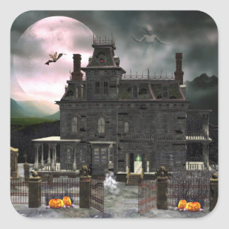 Spuk Aufkleber Halloween-Haus-2