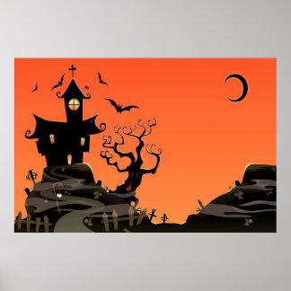 Spuk Halloween-Haus-Plakat Poster