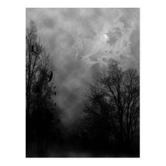 Spuk Halloween-Himmel mit Raben Postkarte