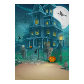 Spuk Haus glückliche Halloween-Hexe, Kürbis, Eule Poster
