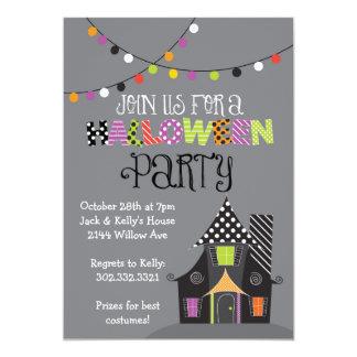 Spuk Haus-Halloween-Party (grau) 12,7 X 17,8 Cm Einladungskarte