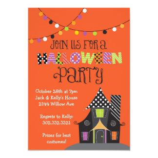 Spuk Haus-Halloween-Party (orange) 12,7 X 17,8 Cm Einladungskarte