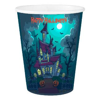 Spuk Haus-Papierschale Halloweens, 9 Unze Pappbecher