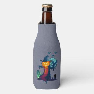 Spuk Vogelscheuche Halloweens mit Schlägern und Flaschenkühler