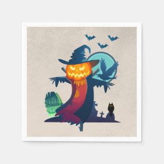 Spuk Vogelscheuche Halloweens mit Schlägern und Papierservietten