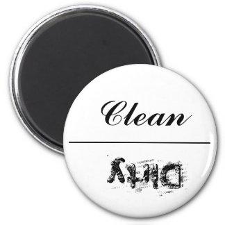 """Spülmaschinen-Magnet """"sauber oder schmutzig """" Runder Magnet 5,1 Cm"""