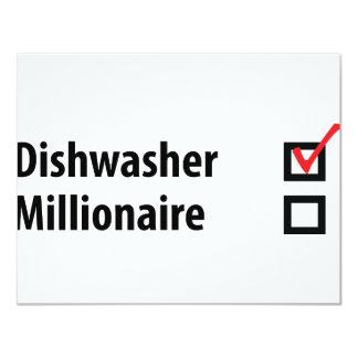 Spülmaschinen-Millionärsikone 10,8 X 14 Cm Einladungskarte