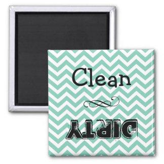 Spülmaschinenmagnet: sauber oder schmutzig (Taupe Quadratischer Magnet
