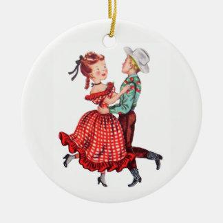 Square-Dancing Keramik Ornament