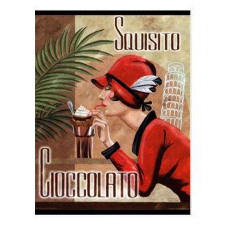 Squisito Cioccolato italienische Schokoladen-Frau Postkarten