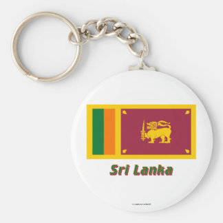 Sri Lanka Flagge mit Namen Standard Runder Schlüsselanhänger