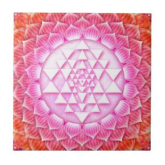 Sri Yantra - Lotos Artwork III Kleine Quadratische Fliese