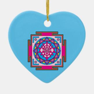 Sri Yantra Mandala Keramik Herz-Ornament