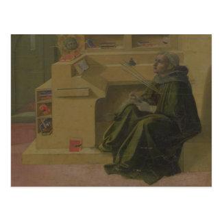 St Augustine in seiner Studie (Predella des Barbad Postkarte